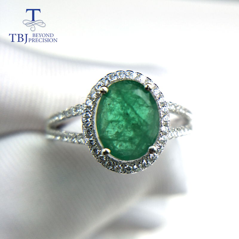 TBJ, 100% natural emerald ring in 925 sterling silver with gift box,elegant dianna rings with natural emerald gemstone ring-in Rings from Jewelry & Accessories