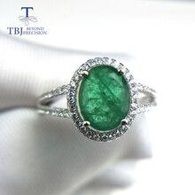 TBJ, 100% naturale smeraldo anello in argento sterling 925 con il contenitore di regalo, elegante dianna anelli con smeraldo naturale della pietra preziosa anello