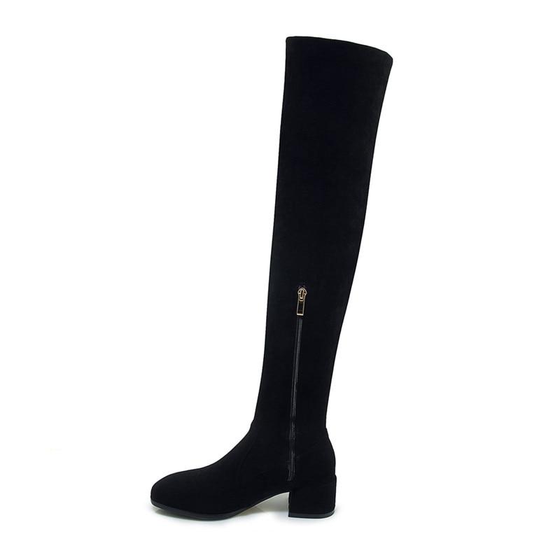 La Invierno Sobre Botas Asumer Damas Negro Toe Thight Tacón Zapatos Altura Zip Moda De Redonda Flock Otoño Rodilla Cuadrado q1Bqtx4w7