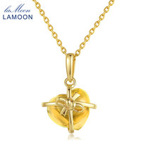Lamoon Romantic Heart Natural Citrine 925 Sterling Silver Chain Pendant Necklace Jewelry 14K Yellow Gold Plated