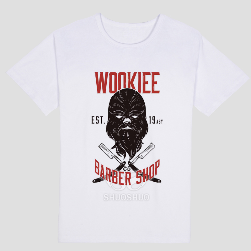 wookie barber shop Character pattern Summer fashion leisure T-shirt