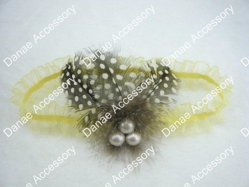 Девушка ободок с пером и кружевом, Sheer Стрейч органзы двойной рюшами эластичные обруч с перьями и жемчугом