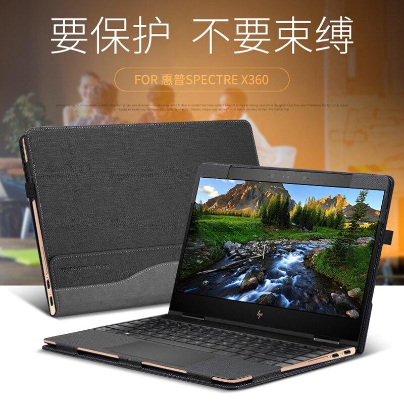Étui détachable pour ordinateur portable Hp Spectre X360 13.3 pouces 2 en 1 cahier en cuir synthétique polyuréthane stylet de Messenger d'affaires comme cadeau - 6
