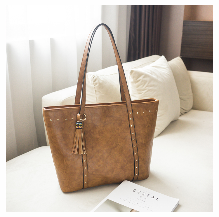 Rivet Leather Women Tote Handbag 24