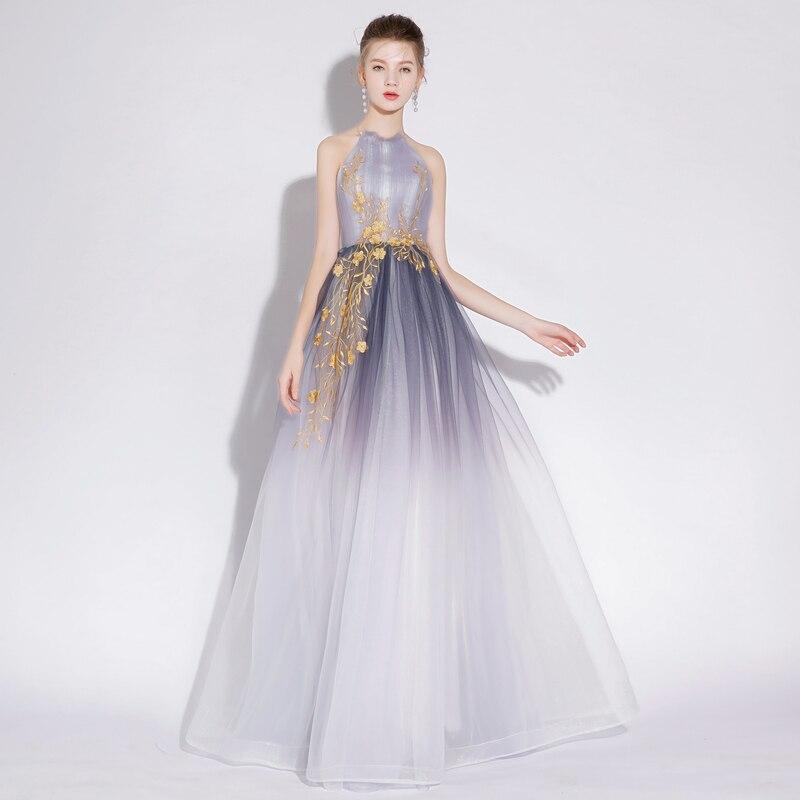 Luxuries Dresses 2019 Summer Fashion Sleeveless Sexy Halter Party Dress Mesh Embroidery Slim Elegant Maxi Gradient