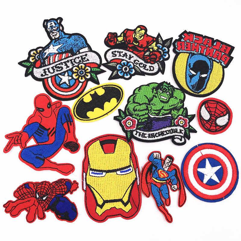 С изображением героев из мультфильмов, 1 штука, «мстители», «Человек-паук»; обувь в стиле панк; патч Одежда Вышитые заплаты сумки куртка патч ручной работы значки аппликаций
