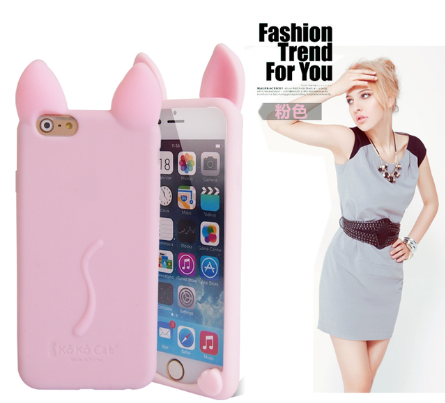 Fashion 3D Cartoon Cat Silicone Case for iPhone 4 4S 5 5S SE 6 6S Plus 7 7 Plus 5.5″ Phone Cover Fundas 12 Colors In Stock