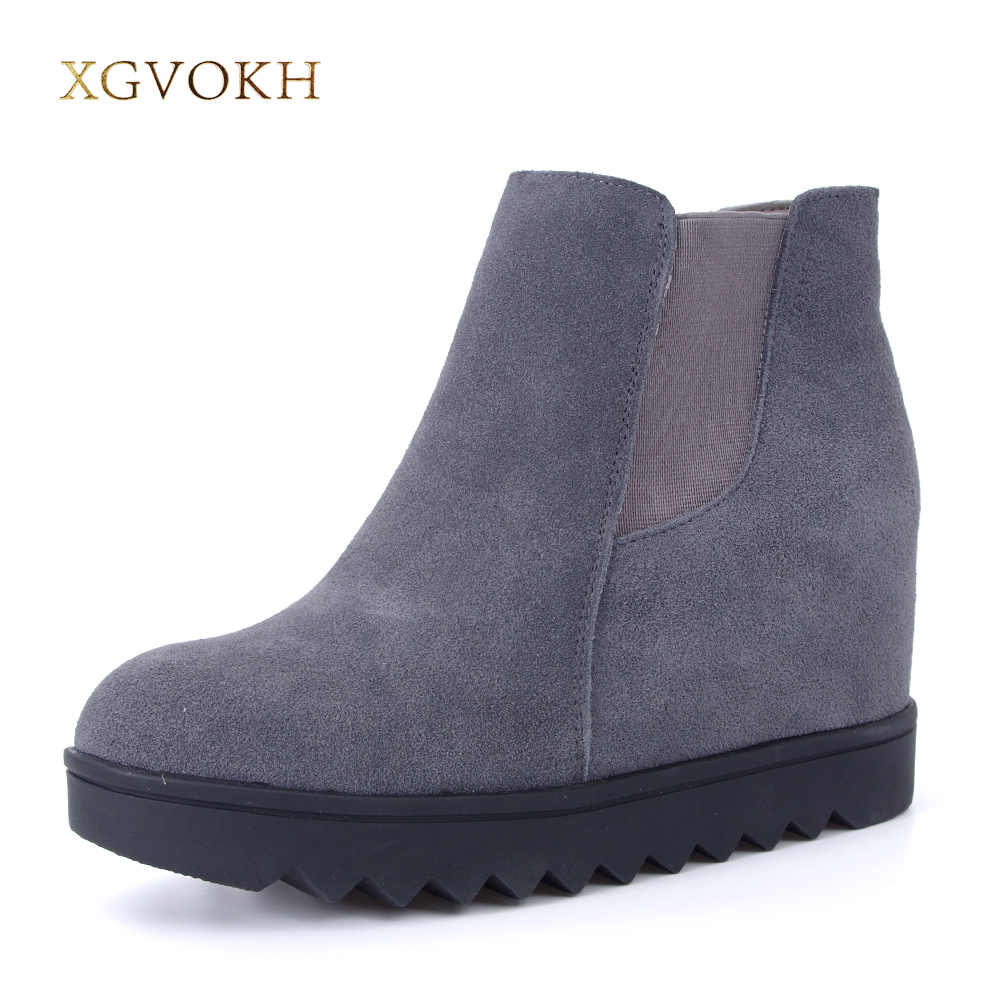XGVOKH Brand Height Increasing Cow Suede boots Leather Women warm winter Fashion casual Solid Slip-On Dress Woman shoes цена и фото