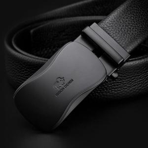 Image 3 - ביזון ינס אמיתי עור גברים חגורת זכר רצועת החגורה אוטומטית יוקרה רצועת גבוהה באיכות אופנה שחור חגורת לגברים מותג n71483