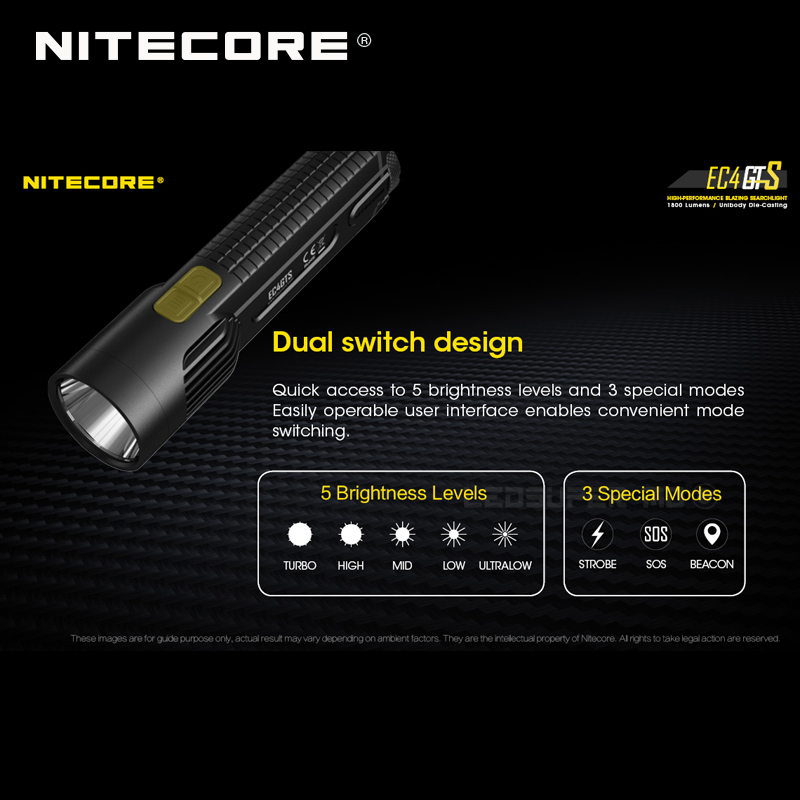 Image 4 - New Arrival Nitecore EC4GTS CREE XHP35 HD LED 1800 Lumens High performance Blazing Searchlight Flashlight-in Flashlights & Torches from Lights & Lighting