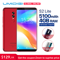 UMIDIGI S2 Lite 18:9 полный Экран Android 7,0 смартфон Face ID 5100 мАч 4G B 32 ГБ 16MP двойной Камера 4G LTE touch ID мобильного телефона