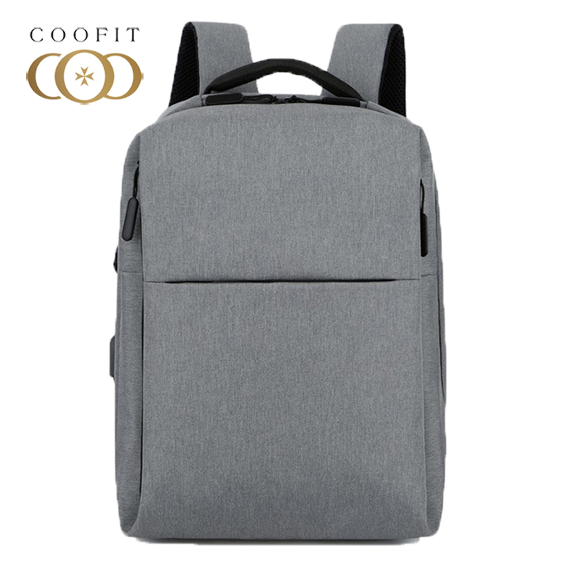Coofit Mens Backpack Fashion Casual Waterproof Nylon Business Backpack Travel Backpacks With USB Charging Port Grey Black BlueCoofit Mens Backpack Fashion Casual Waterproof Nylon Business Backpack Travel Backpacks With USB Charging Port Grey Black Blue