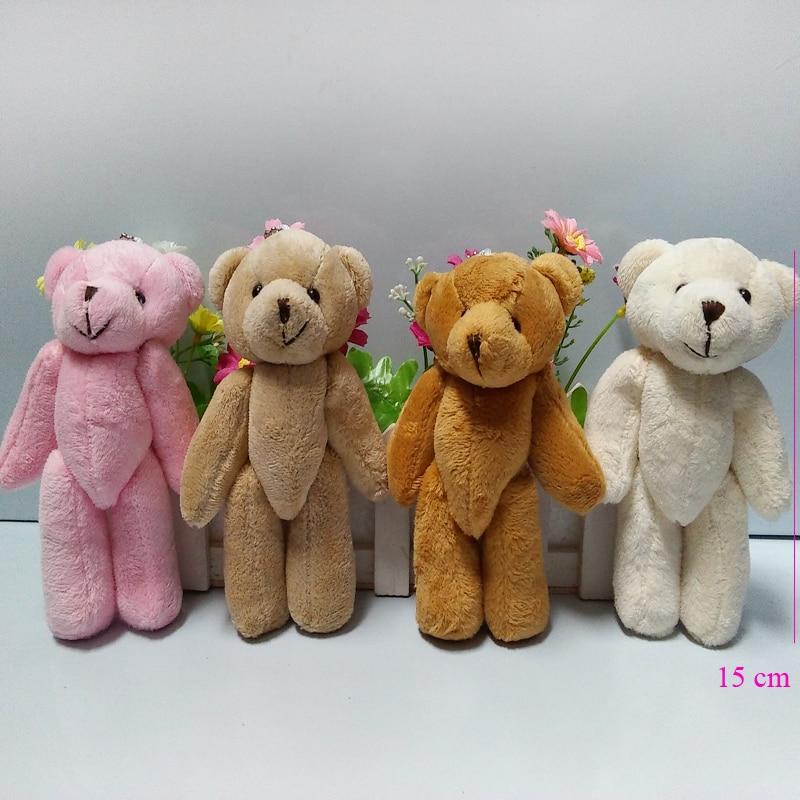 10pcs/lot, 15cm Kawaii Small Joint Teddy Bears Stuffed Plush With Chain  15CM Toy Teddy Bear Mini Bear Ted Bears Plush Toys Gifts