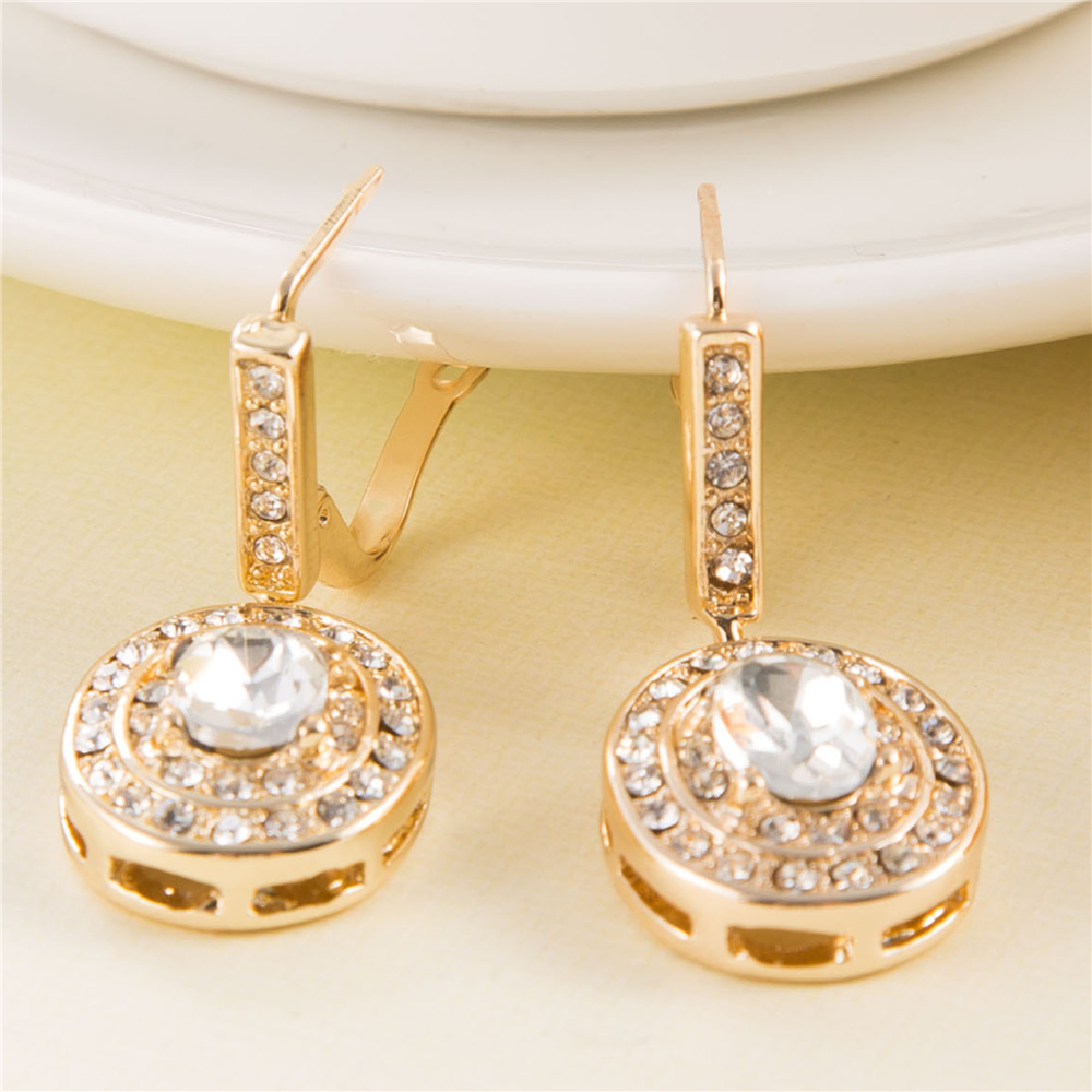 Christmas Gifts 3.5cm Glam Bride Bridemaid Earrings Gold Bridal Jewelry Luxurious Statement Jewellery Vintage Wedding Earrings