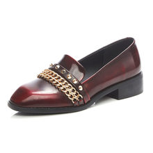 2016 genuine leather Fashion women flats unisex derby shoes fall patent leather femininos career office chains rivets cool shoes