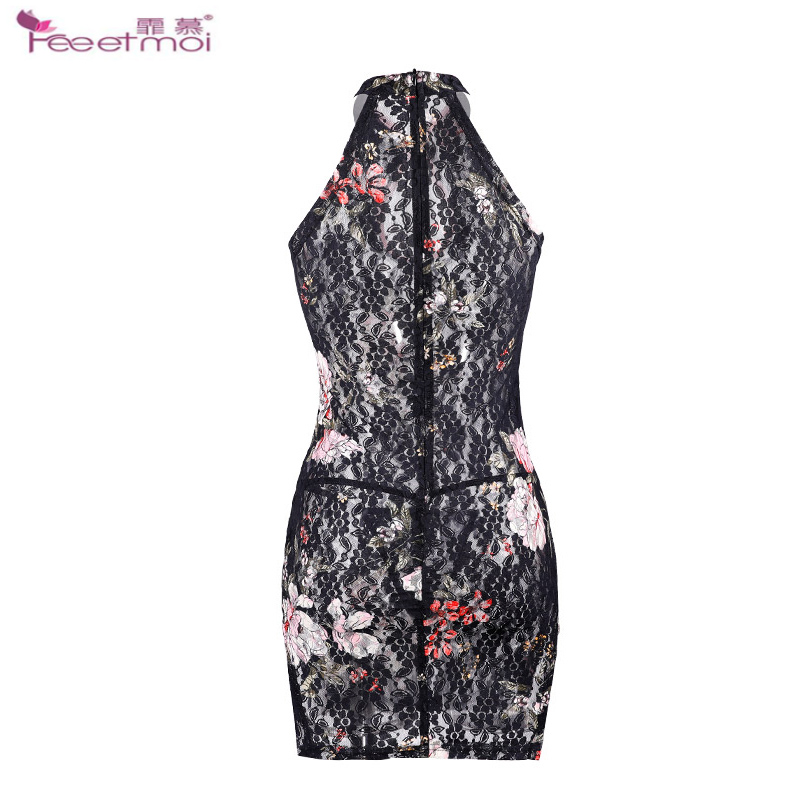 Cheongsam Stand Collar Erotic Lingerie Sleepwear Dress Transparent Hollow Sexy Lingerie Slit Invisible Zipper Hot Sexy Underwear in Babydolls Chemises from Novelty Special Use