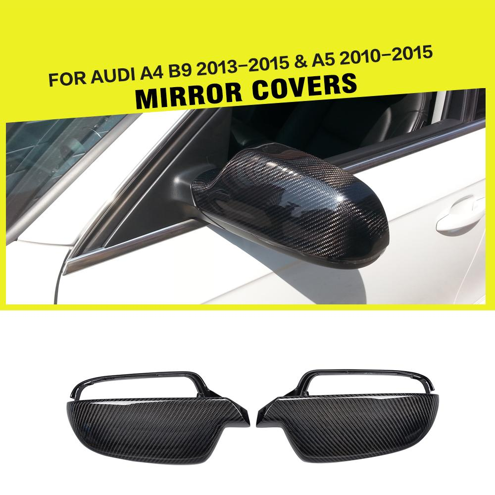 Carbon Fiber Replacement Style Car Side Mirror Covers Trim for Audi A4 B9 2013 2015 A5 2010 2015 Without Side Assist holes