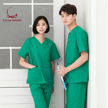 Soft polyester-cotton hand-washing suit men and women short-sleeve split suit isolation clothes brush hand clothing стоимость