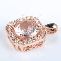 8MM Round Cut Genuine Morganite Diamonds Solid 10k Rose Gold Wedding Pendant