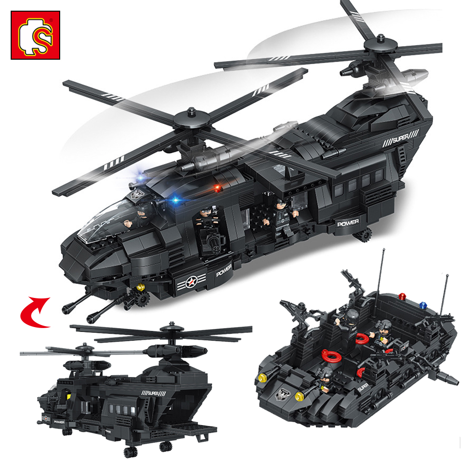 Military Swat Team Helicopter Model City Police Figures Building Blocks Compatible Legoed Army ww2 Enlighten Toys For Children b1600 sluban city police swat patrol car model building blocks classic enlighten diy figure toys for children compatible legoe