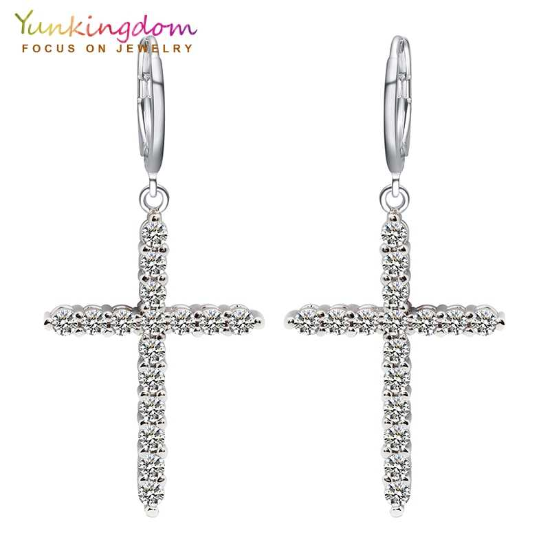 Yunkingdom Brand Cross New Fashion Dangle Earrings Rhinestone Zirconia Women Earrings  Jewelry Valentine's Gifts K0014