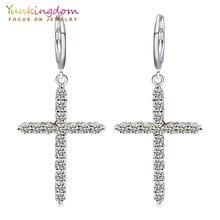 Yunkingdom Brand Cross New Fashion Dangle Earrings Rhinestone Zirconia  Women Earrings Jewelry Valentine s Gifts K0014 be05bae7e044