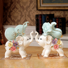 Ceramic Animal Decoration ceramic elephant living room decoration ornaments home wedding decor tabletop gift  Furnishing