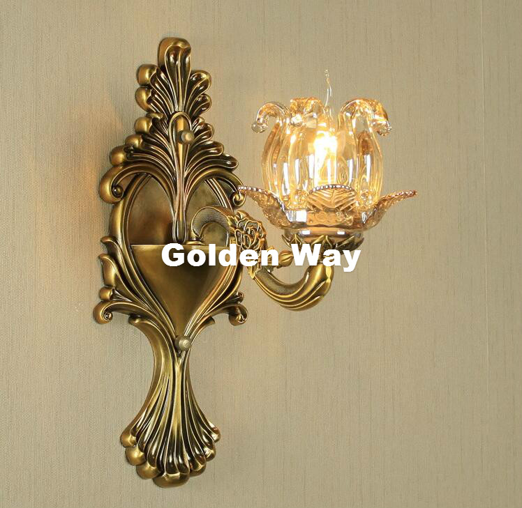 Luxury Crystal Wall Light Bronze Color Wall Sconces Lamp Crystals Wall Brackets Light for Bedroom Living Room Wall Lighting crystal wall light lustres wall sconces lamp bedroom wall brackets lighting fixture for bedroom living room 100% guarantee