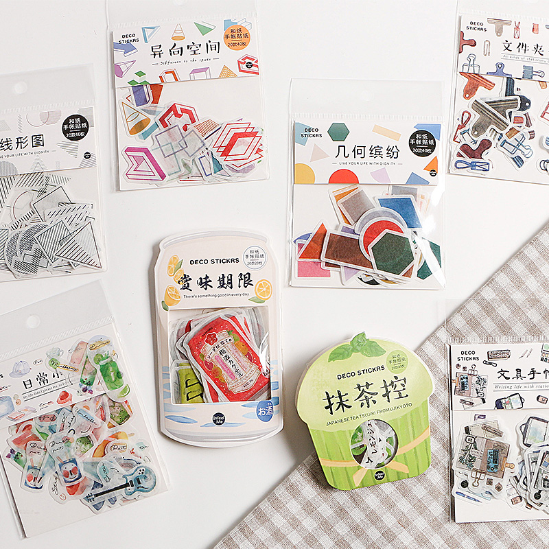 40 Pcs /pack Japanese Snacks Paper Label Stickers Crafts Scrapbooking Decorative Sticker Diy Kawaii Stationery Stickers