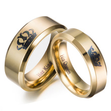цена на Gold colour King And Queen Stainless Steel Crown Couple Rings Gold Rings For Couples Lovers Love Promise Rings For Men Women