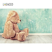 Laeacco Photo Backdrops Teddy Bear Gradient Solid Wall Baby Newborn Portrait Photography Backgrounds Photocall Studio