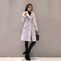 2019 Autumn Winter Feminine Coat Pink Grey Elegant Long Korean New Suit Collar Long Sleeve wool Outwear A349