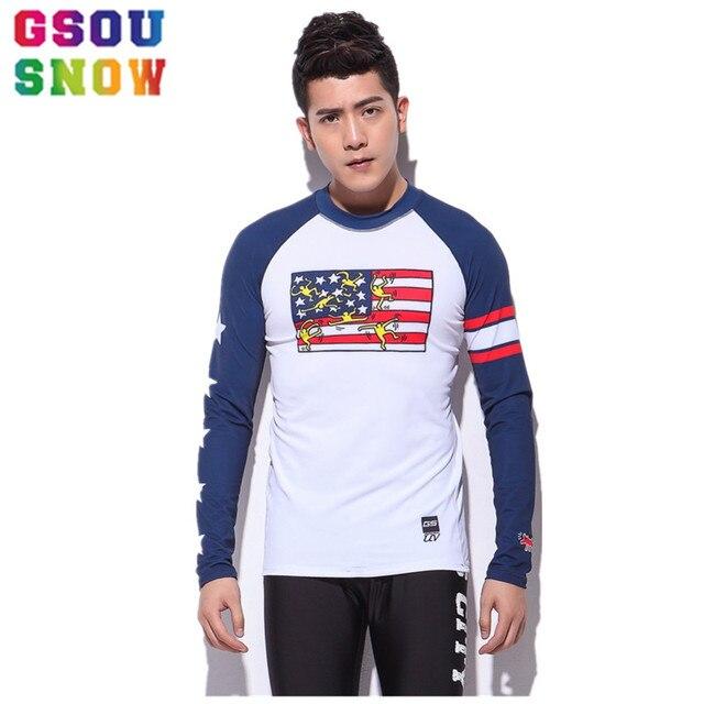 Gsou Snow Brand Men Long Sleeve Surf Tops Diving Rash Guards Swimsuit T- shirts Sunscreen Quick Dry Wetsuit Tops Beach Sportswear 0405b604c