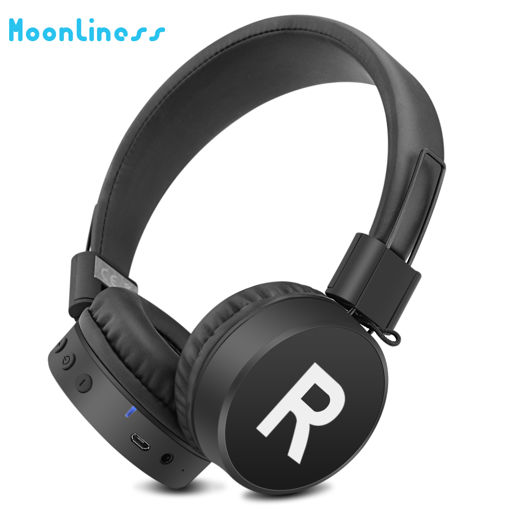 Moonliness Stereo Wireless Bluetooth Headphone Sports Headsets Support AUX FM Radio Adjustable with MIC headset lexin 2pcs max2 motorcycle bluetooth helmet intercommunicador wireless bt moto waterproof interphone intercom headsets