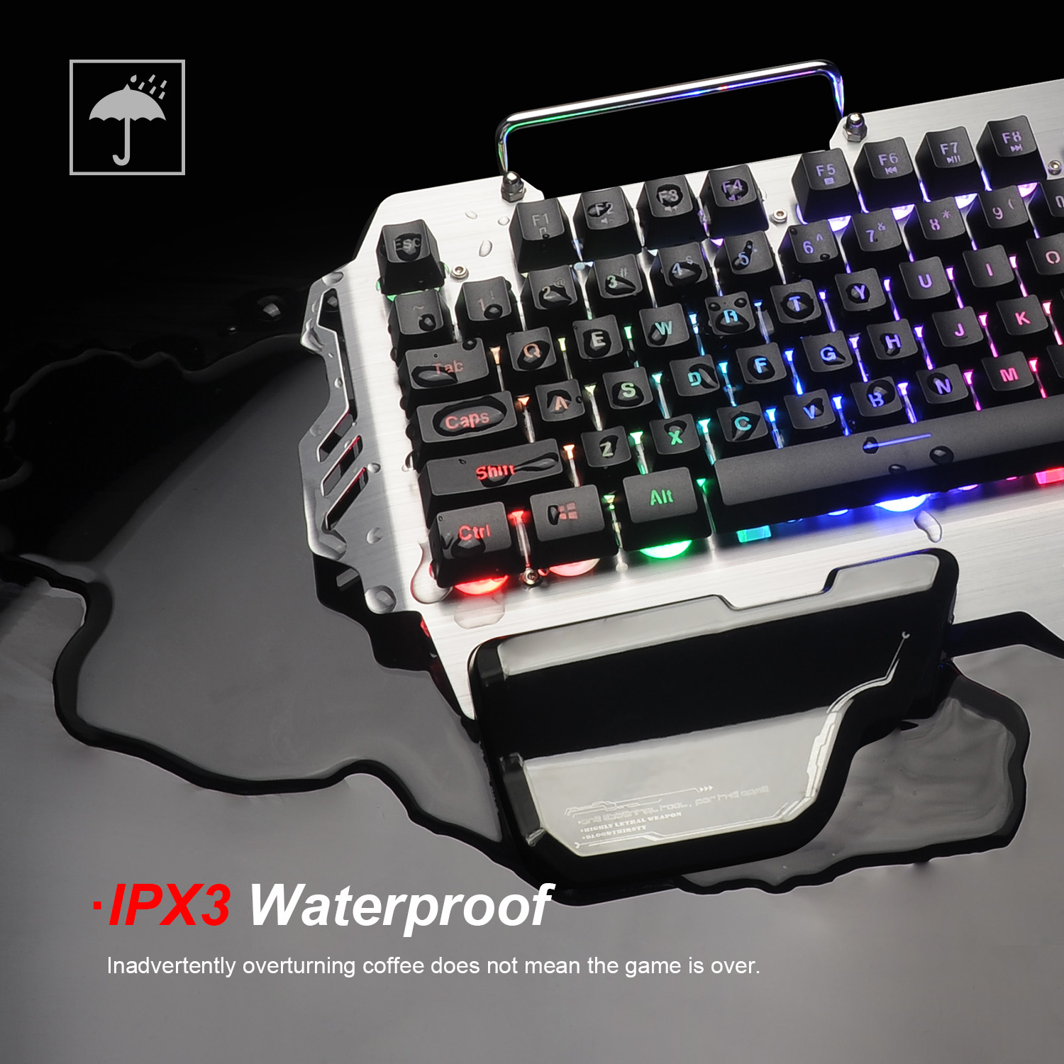 RedThunder K900 RGB Gaming Keyboard Mechanical Similar Russian Spanish French Multilingual Metal Cover for Tablet Desktop