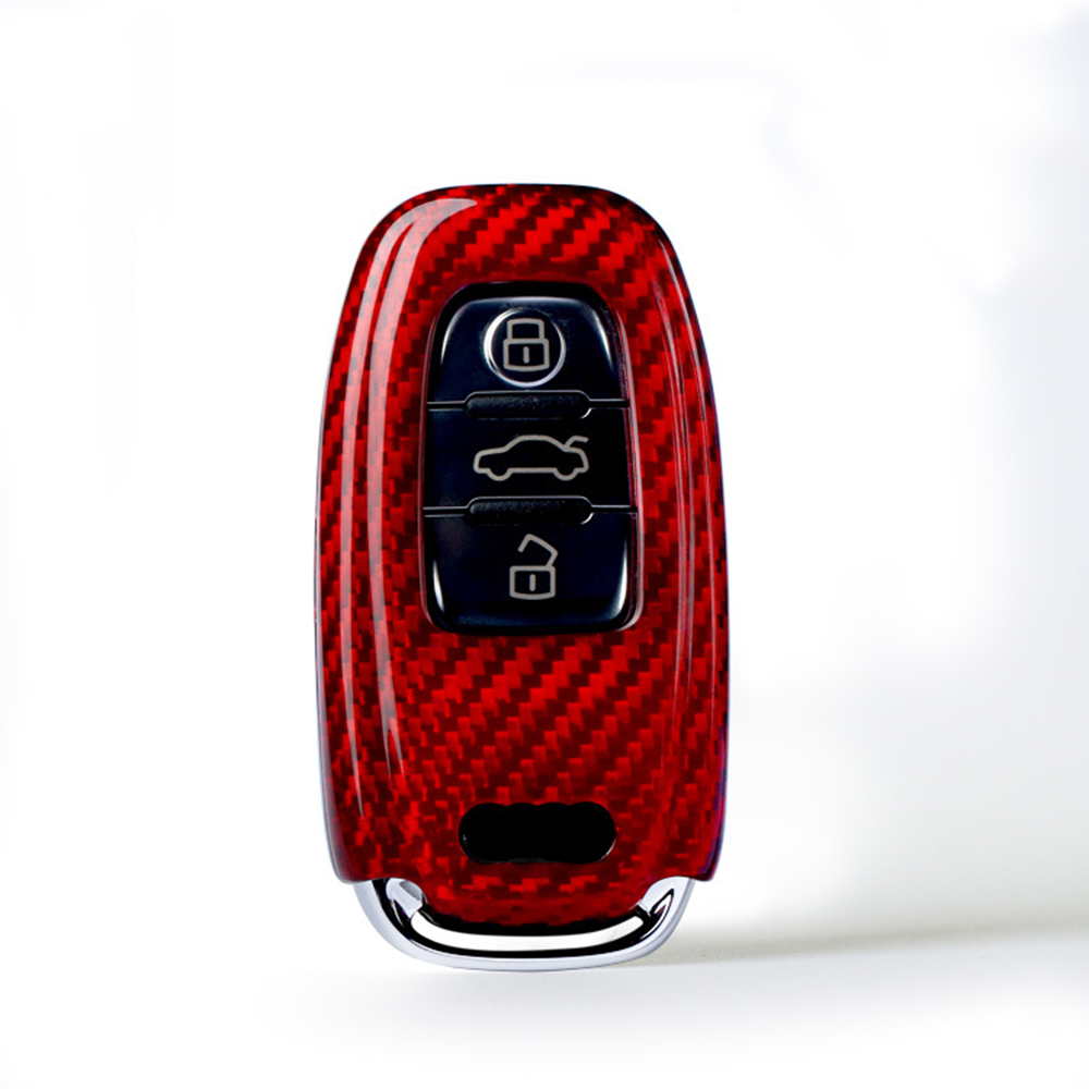 Carbon Fiber Car Remote Key Case Cover Holder Auto Key Shell For Audi A4 B6 B7