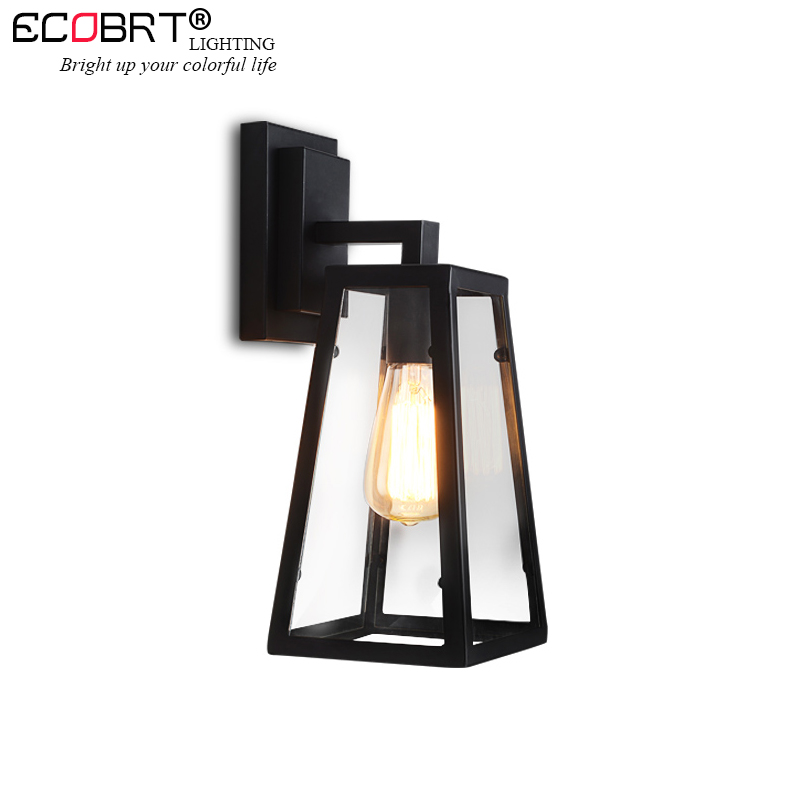 цена ECOBRT American style modern vintage metal glass shade wall lamps hallway sconce stair cafe living room restaurant wall lights