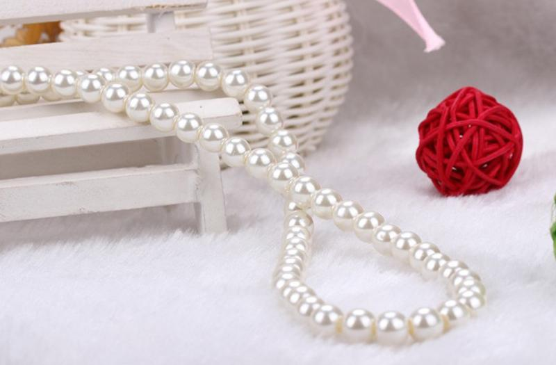 Summer Spring Women Party Jewelry 42cm hot Fashion White Faux Pearl Beads Necklace Elegant Imitation Pearl Choker Necklace