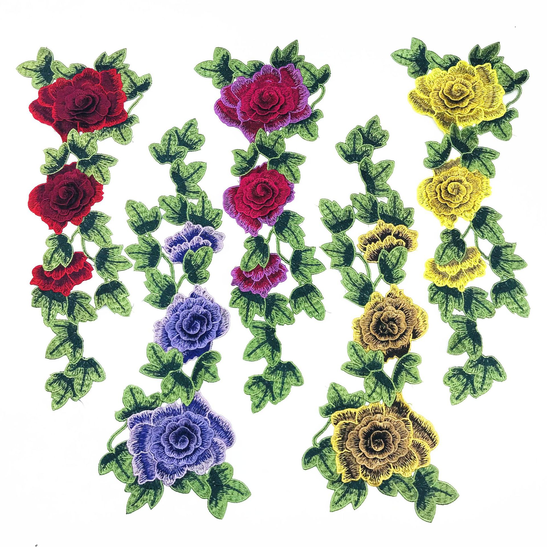 3D DIY Applique Water Soluble Embroidery  Costume Decoration Dimensional Colorful Decals Applique Accessories