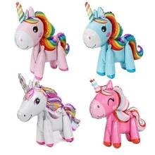 3D Unicorn Pink Blue Purple Little Horse Pony Foil Balloons Helium Balloon KidsToys Wedding Birthday Animal Party Supplies