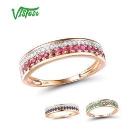 VISTOSO 14 K anillos de oro rosa para señora diamante brillante genuino rubí/zafiro/Esmeralda compromiso Chic joyería Fina