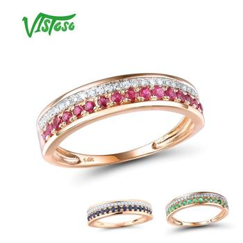 VISTOSO 14K Rose Gold Rings For Lady Genuine Shiny Diamond Fancy Ruby Sapphire Emerald Engagement Anniversary Chic Fine Jewelry