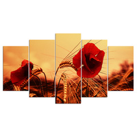 5 pcs,Full Square 5D DIY Diamond Painting Red Poppies Flower In Sunset diamond Embroidery mosaic Cross Stitch Rhinestones Y2516