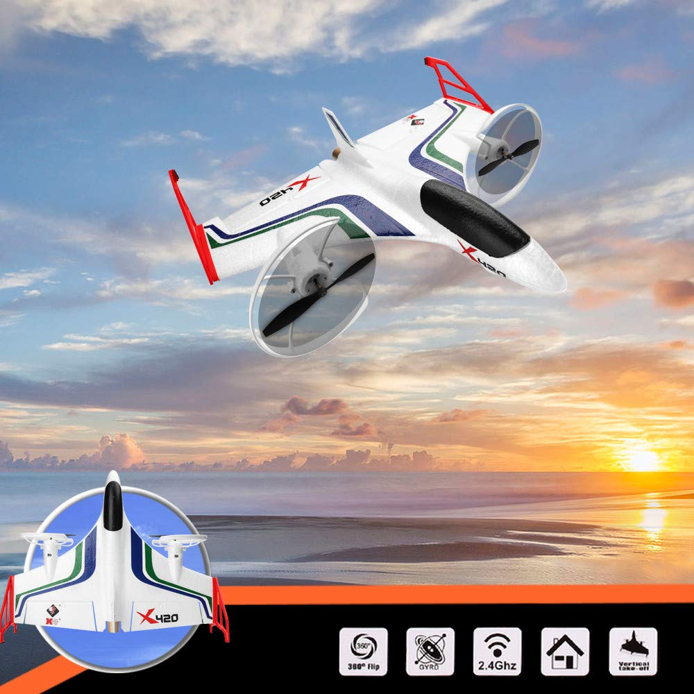 XK X420 2.4G 6CH 420mm 3D6G VTOL Vertical Take-off And Landing EPP 3D Aerobatic FPV RC Airplane RTF With Transmitter image