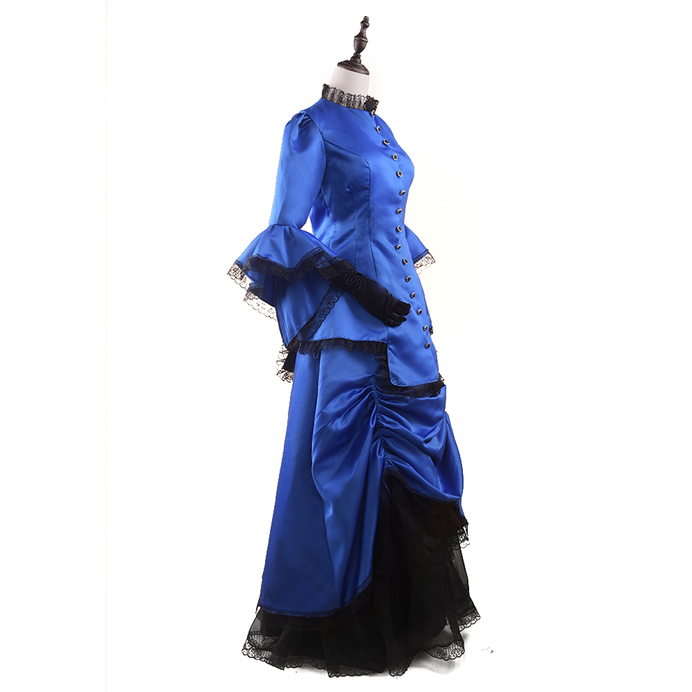 Royal Blue Victorian Bustle Dress Adult Woman\'s Elegant Ball Gown ...