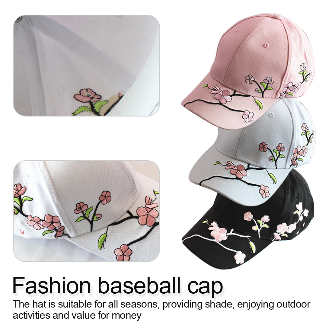Women Summer Hats Symmetrical Flower Embroidery Built-in insulation Knitted  Plum embroidery Baseball Cap Adjustable