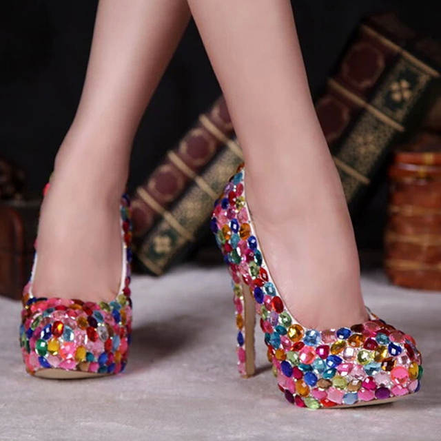 a204ed374826 Red Pink Blue Multi Color Sparkly Crystal Wedding Dress Shoes Womens High  Heel Fashion Diamond Pumps for Evening Party Prom-in Women's Pumps from  Shoes on ...