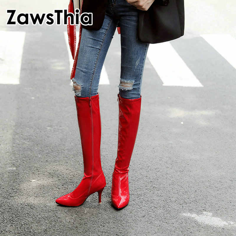 ZawsThia patent PU leather red white black point toe thin high heels women boots mid-calf sexy club party woman boots size 47 48