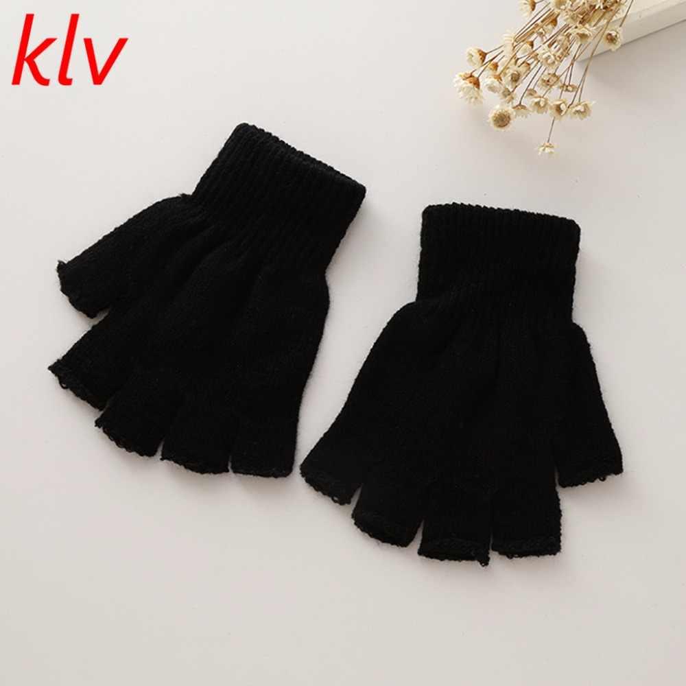 KLV frío invierno adultos guantes mantener caliente magia pura con medio dedos guantes de punto