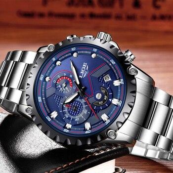 LIGE Men's Full Steel Chronograph Calendar Waterproof Quartz Watches 4